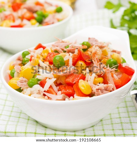 rice with vegetables and canned tuna, close-up