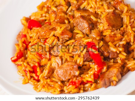 Rice with Vegetables and Meat - stock photo