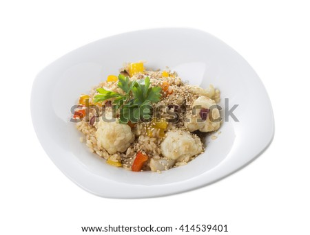 Rice with vegetables in japanese style. Isolated on a white background. - stock photo