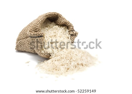 riceburlap sack with chinese blanched rice spilling out over a white background - stock photo
