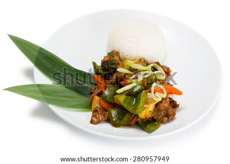 Ricecurry spicy dish, served with roasted meat, vegetables and rice with curry sauce. From a series of Food Korean cuisine. - stock photo