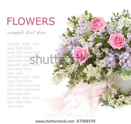 Rich bouquet with lilac and pink roses isolated on white with sample text - stock photo