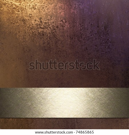 rich brown background in warm earth tones with rusty golden lighting, muddy grunge texture, silvery golden ribbon stripe with bright highlight in middle, and copy space to add your own text or title - stock photo