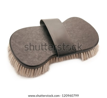 rich brush with natural bristle  for grooming horse isolated