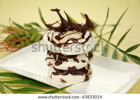 Rich chocolate meringue stack with chocolate sculpture ready to serve. - stock photo