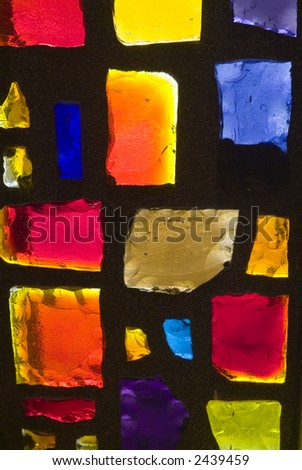 Rich colored stain glass panels background 07 - stock photo