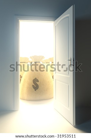 rich concept - outdoor light with money bags - stock photo