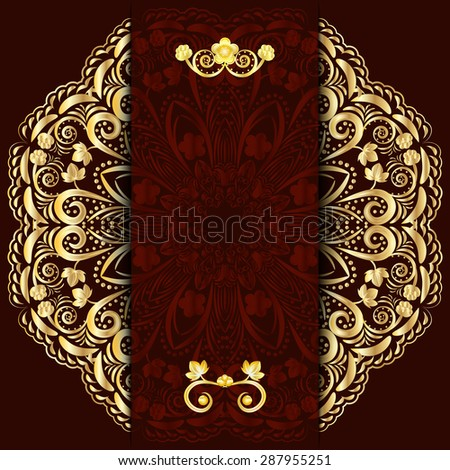 Rich dark background with gold floral mandala. Template for menu, greeting card, invitation or cover. Rasterized version. - stock photo