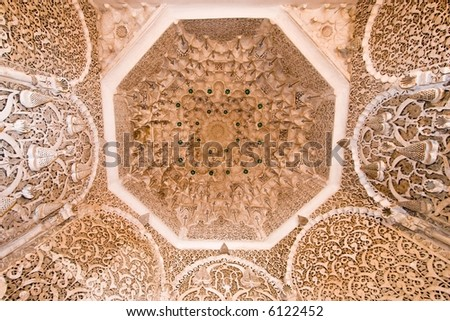 rich decorated ceiling in a morocco palace, Marrakesh - stock photo