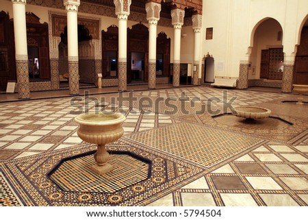 Rich decorated interior of Marrakech museum, Morocco - stock photo