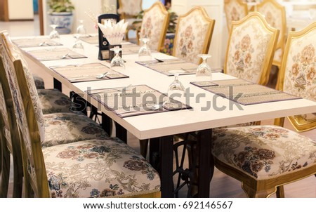 Rich Dining Room With Wonderful Table SetGolden Bright Yellow Luxury