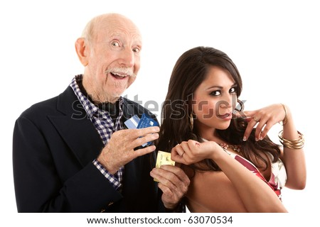 Rich elderly man with Hispanic gold-digger companion or wife