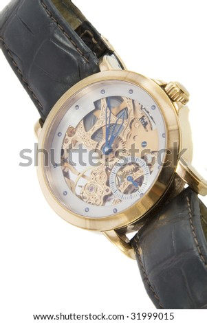 Rich gold swiss made chronograph watch in white background