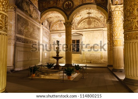 Rich Interior of Palazzo Vecchio (Old Palace) a Massive Romanesque Fortress Palace, Florence, Italy - stock photo