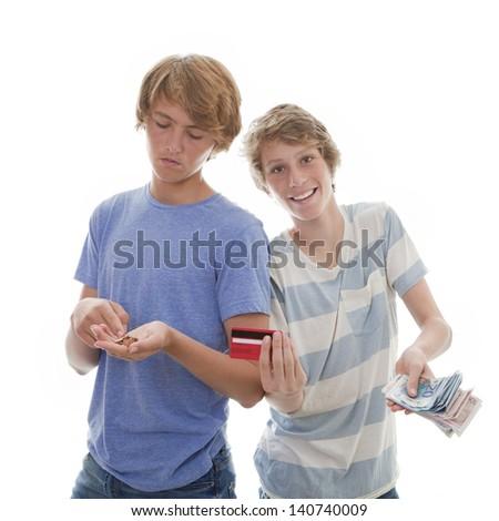 rich kid poor teen, teens with money - stock photo