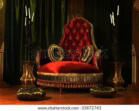 Rich-looking armchair with pillows - stock photo