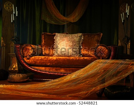 Rich-looking sofa and table