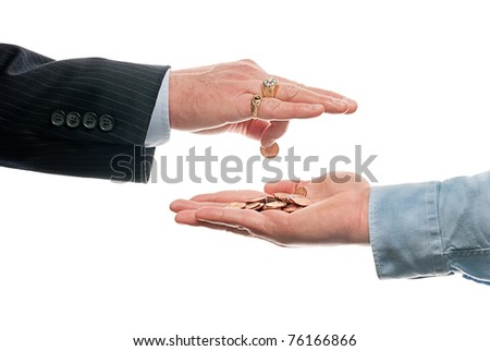 Rich man under paying worker - stock photo