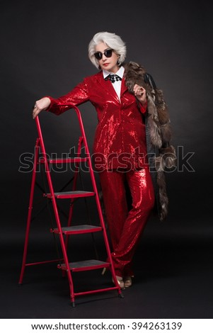Old Lady Red Coat Stock Images Royalty Free Images