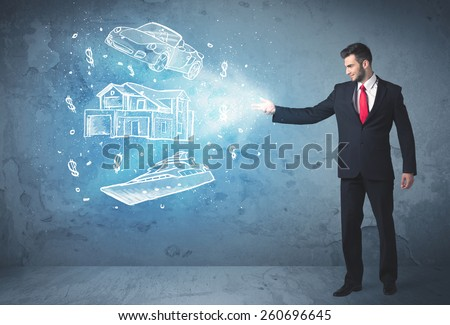 Rich person throwing hand drawn car yacht and house concept - stock photo