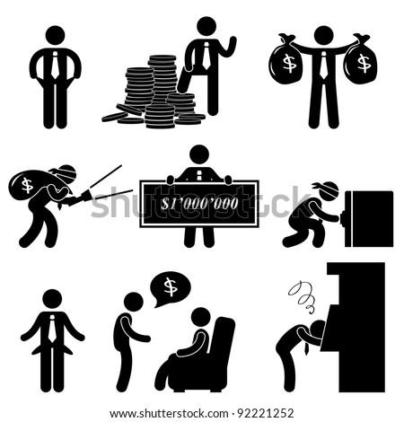 Rich Poor Success Failure Desperate Businessman Icon Symbol Sign Pictogram - stock photo