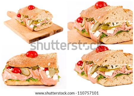Rich sandwiches collage - stock photo