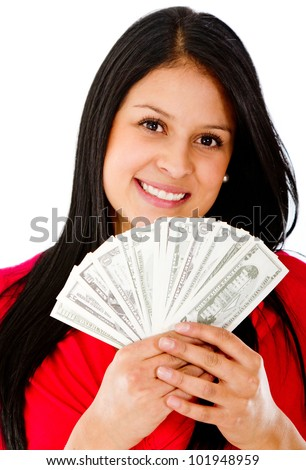 Rich woman holding a bunch of bills - isolated over a white background - stock photo