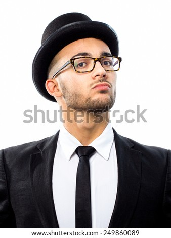 Rich young man wearing top hat and glasses