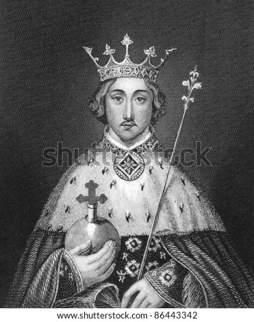 Richard II of England (1367-1400). Engraved by Bocquet and published in the Catalogue of the Royal and Noble Authors, United Kingdom, 1806. - stock photo