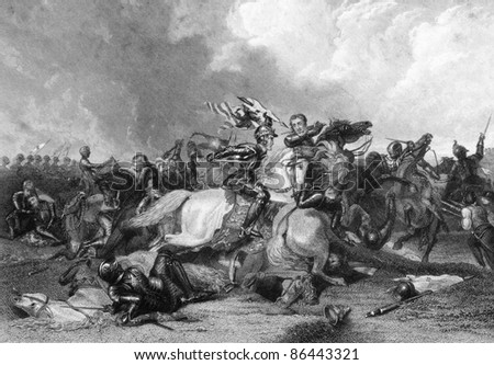 Richard III and the Earl of Richmond at the Battle of Bosworth in 1485. Engraved by J.Rogers and published in England's Battles by Sea and Land, United Kingdom, 1857. - stock photo