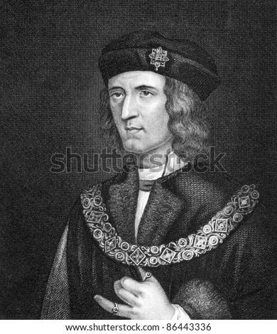 Richard III of England (1452-1485). Engraved by Bocquet and published in the Catalogue of the Royal and Noble Authors, United Kingdom, 1806. - stock photo