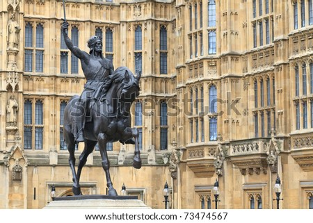 Richard Lionheart, King of England - Statue in front of Westminster Palace (Parliament) - London, UK - stock photo