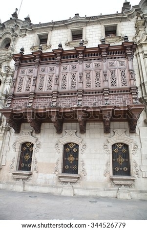 richly carved balconies, Plaza Mayor, Lima, Peru - stock photo