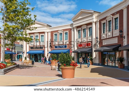 RICHMOND BC, CANADA - September10, 2016: Unidentified people in the new McArthurGlen Designer Outlet near the Vancouver Airport. Outlet was designed as a luxury shopping destination.