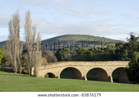 Richmond Bridge. The oldest bridge in Australia. Located in Richmond, Tasmania it was completed by convicts in 1825 - stock photo