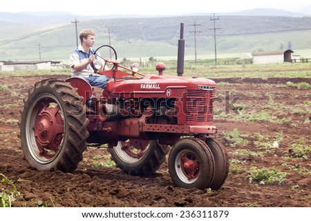 Richmond, KwaZulu Natal, South Africa - December 7, 2014: Unknown man on Vintage Farmall tractor at Natal Vintage Tractor and Machinery Club at Baynesfield Estate in Richmond, KwaZulu-Natal