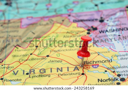 Richmond pinned on a map of USA  - stock photo