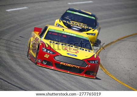 Richmond, VA - Apr 24, 2015:  Joey Logano (22) wins the pole for the Toyota Owners 400 race at the Richmond International Raceway in Richmond, VA. - stock photo