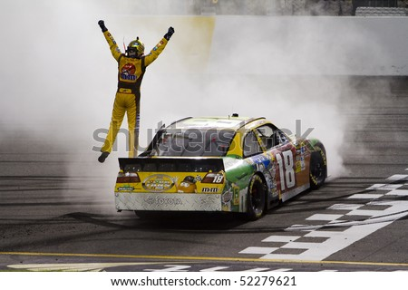 RICHMOND, VA - MAY 01:  Kyle Busch wins at the Richmond International Raceway for the running of the Crown Royal Presents The Heath Calhoun 400 race in Richmond, VA on May 1, 2010. - stock photo