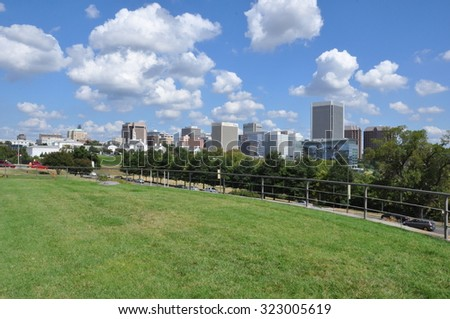 RICHMOND, VA - SEP 8: Skyline of Richmond, Virginia, as seen on Sep 8, 2015. While it was incorporated in 1742, Richmond has been an independent city since 1871. - stock photo