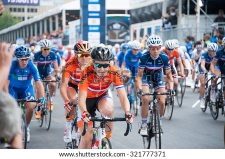 RICHMOND VIRGINIA - SEPTEMBER 26: Cyclists at the start of the elite women's road race at the UCI Road World Championships on September 26, 2015 in Richmond, Virginia