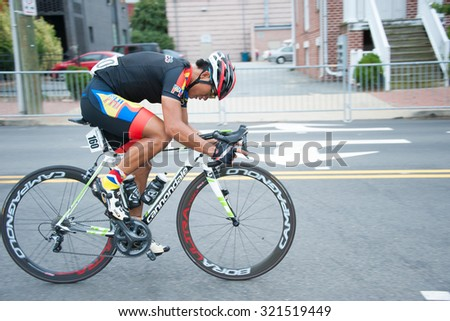 RICHMOND, VIRGINIA  SEPTEMBER 25: Dominic Perez (PHI) competes in the under-23 men's road race at the UCI Road World Championships on September 25, 2015 in Richmond, Virginia  - stock photo
