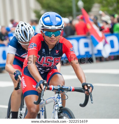 RICHMOND VIRGINIA - SEPTEMBER 26: Riders head to the finish line at the end of  the elite women's road race at the UCI Road World Championships on September 26, 2015 in Richmond, Virginia