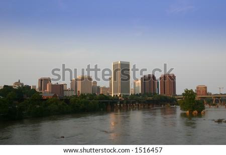 Richmond Virginia Skyline James River view - stock photo