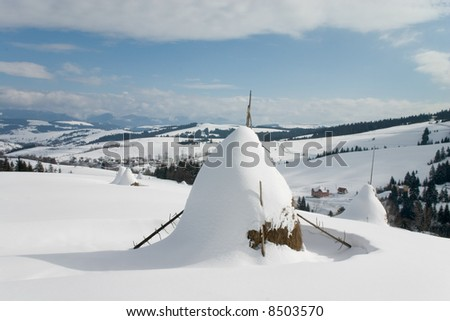 Ricks under the snow in the Crapathian mountains - stock photo
