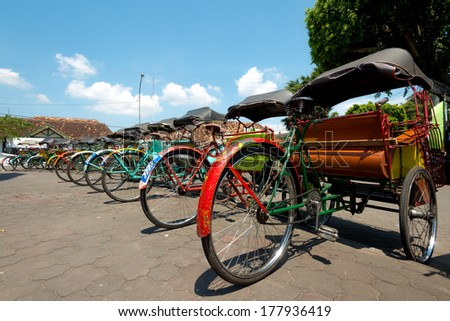 Rickshaws in Yogykarta, Indonesia - stock photo