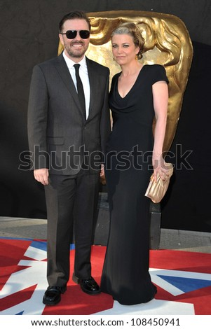 Ricky Gervais and wife Jane arriving for the BAFTA TV Awards 2012 at the Royal Festival Hall, South Bank, London. 27/05/2012 Picture by: Steve Vas / Featureflash