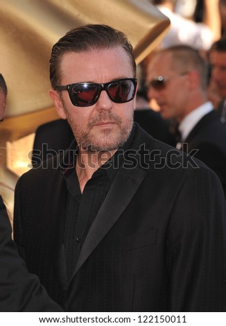 Ricky Gervais at the 64th Primetime Emmy Awards at the Nokia Theatre LA Live. September 23, 2012  Los Angeles, CA Picture: Paul Smith