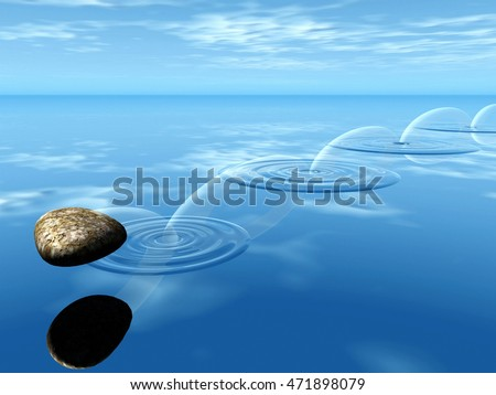 ricochets of a stone on water 3D illustration