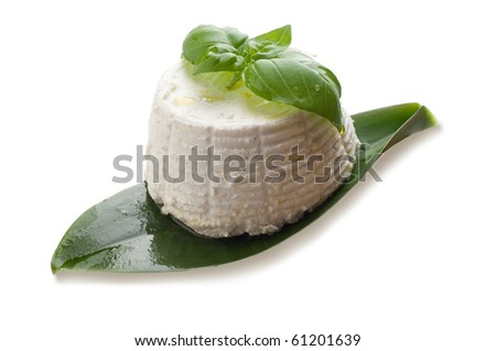 ricotta and basil isolated on white background - stock photo